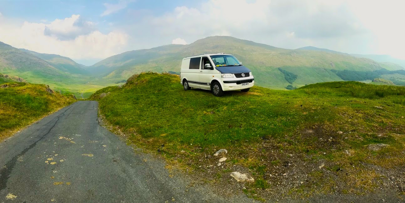 Wild camping at Wrynose Pass in the lakes (Cumbria, UK)