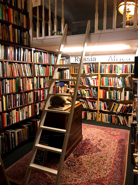 The book shop even has a bed where people can stay the night!