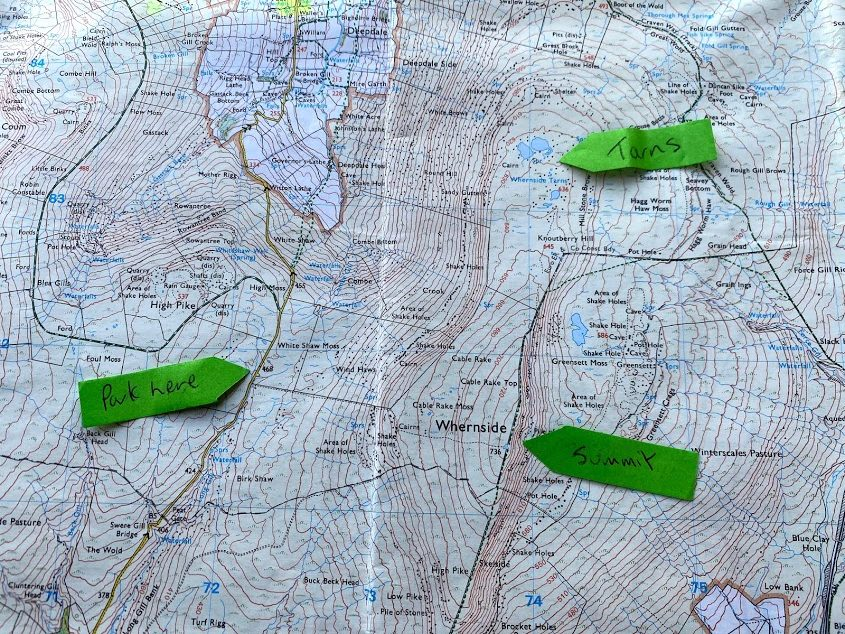 Whernside Map - route from the west